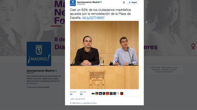 Carmena manipula los resultados de su proceso participativo vinculante sobre Plaza España