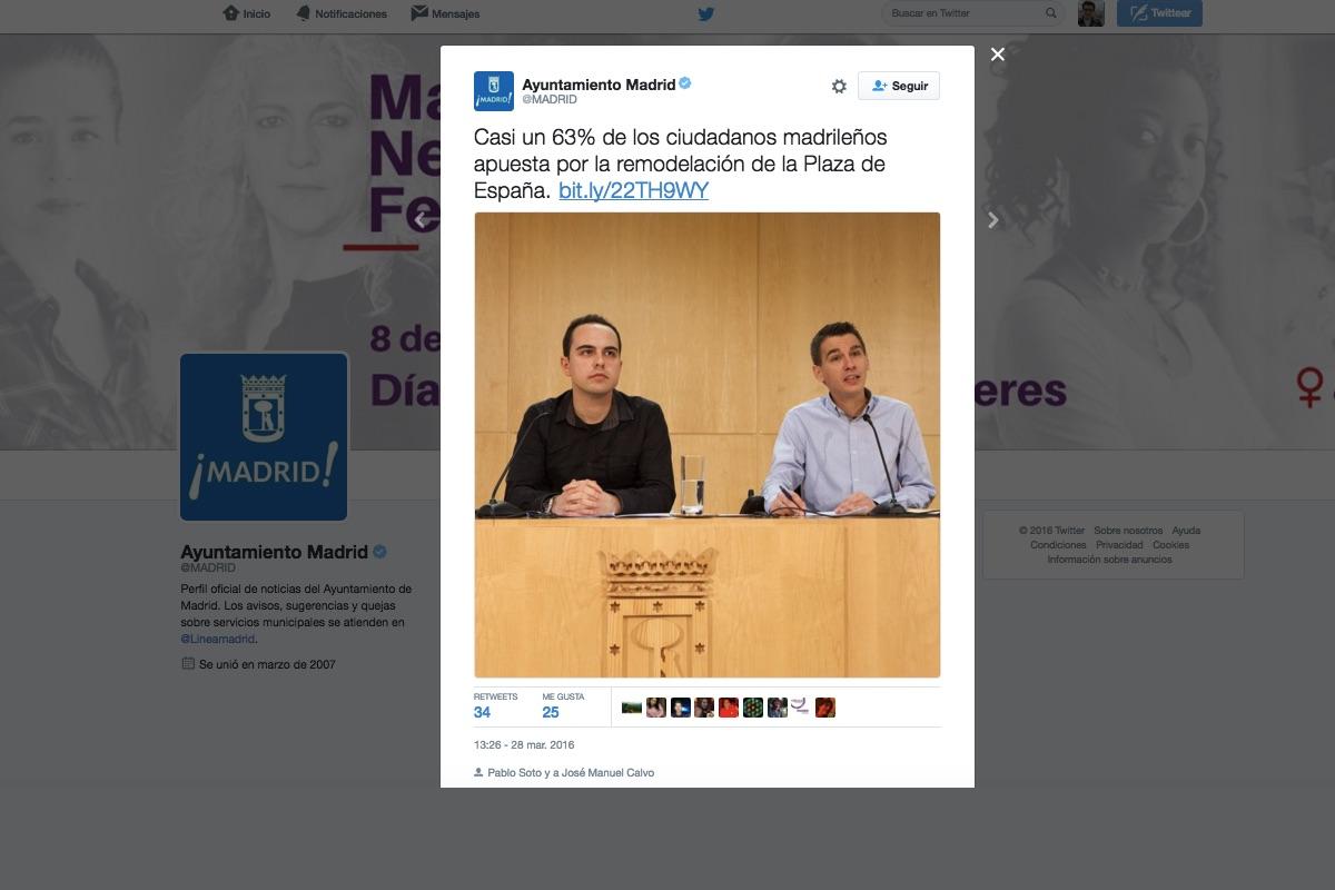 El tuit manipulado de @Madrid en Twitter.