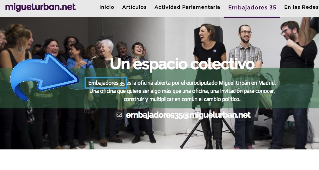 Embajadores, 35 también es la sede de eurodiputado de Podemos Miguel Urban.