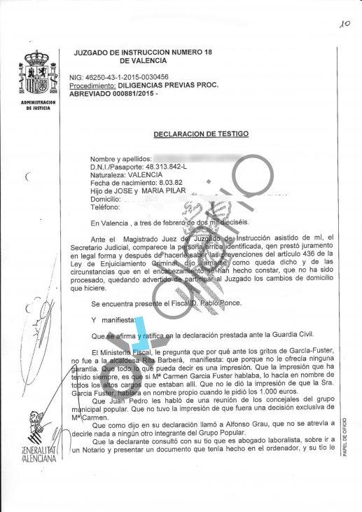 Documento de la declaración de la testigo de la 'operación Taula'.