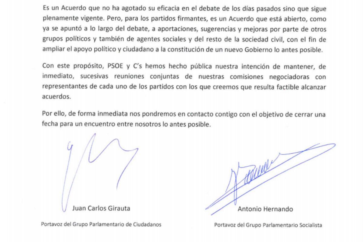 Fragmento de la carta que PSOE y C'S han enviado a los grupos.