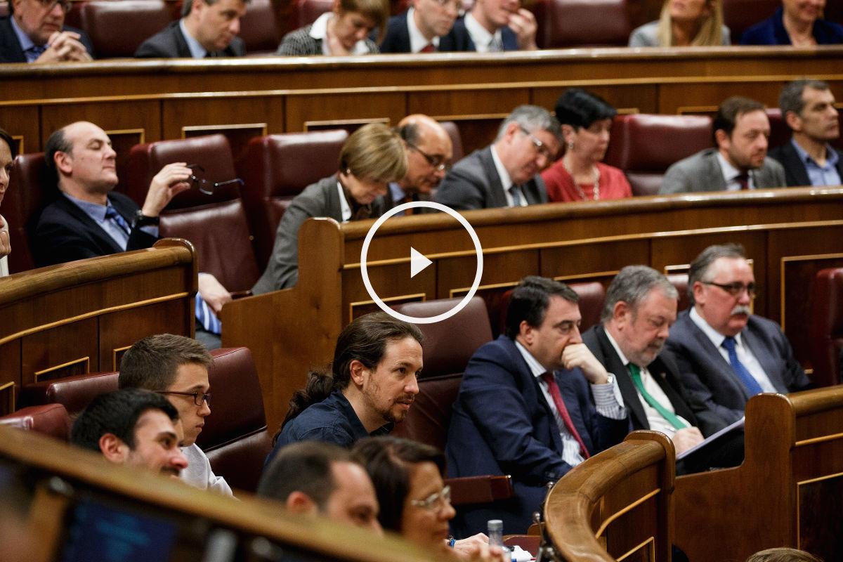El líder de Podemos, Pablo Iglesias, durante el debate de investidura. ( Efe)