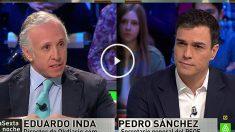 Eduardo Inda y Pedro Sánchez en La Sexta Noche