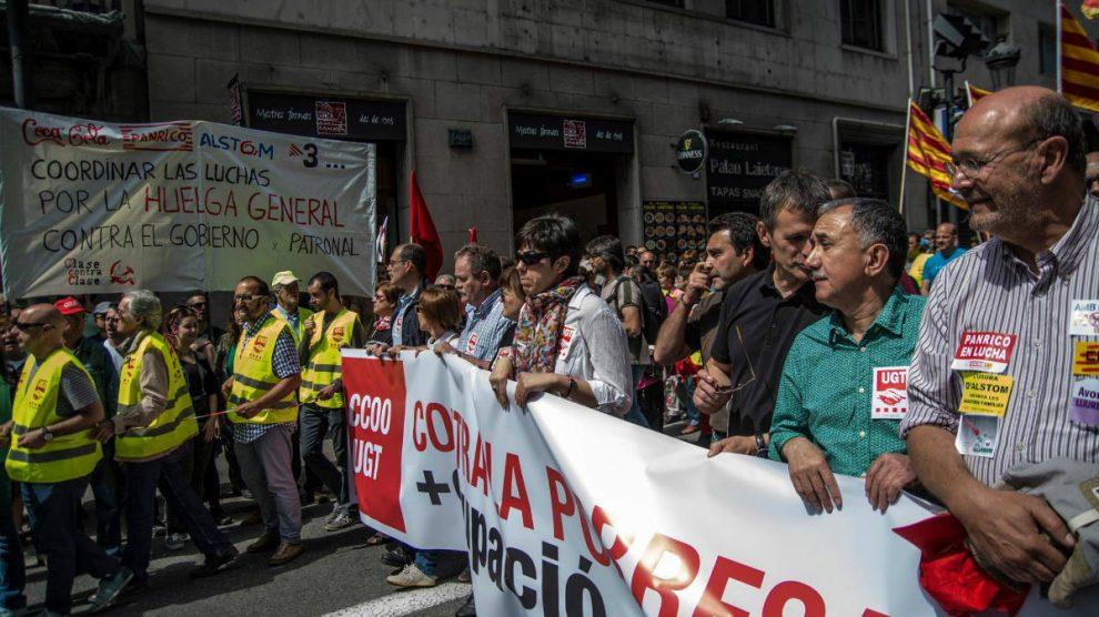 Trabajadores de Panrico en una protesta.