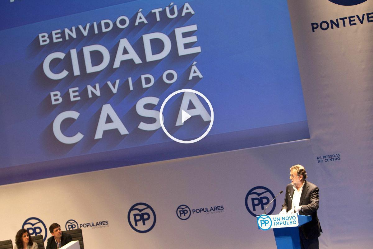 Rajoy durante su intervención en el congreso del PP de Pontevedra (Foto: Efe).