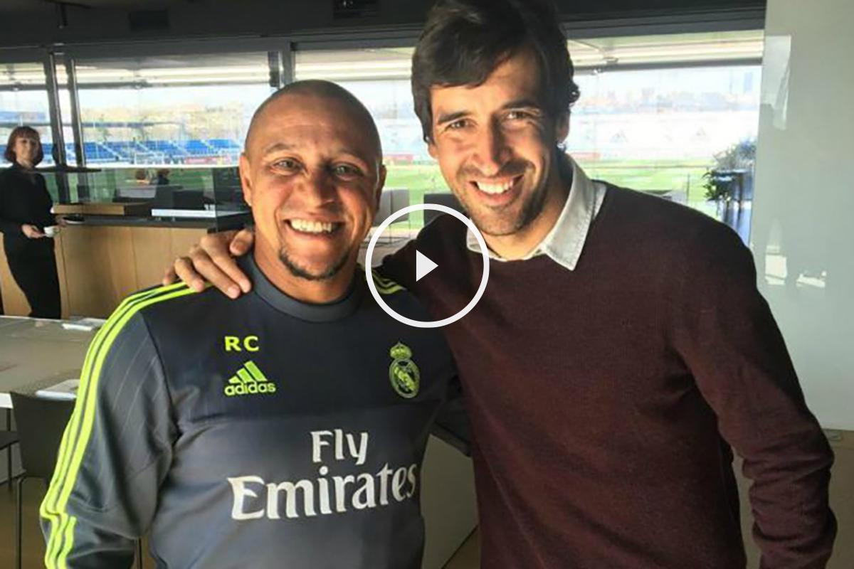 Raúl se abraza con Roberto Carlos en Valdebebas.