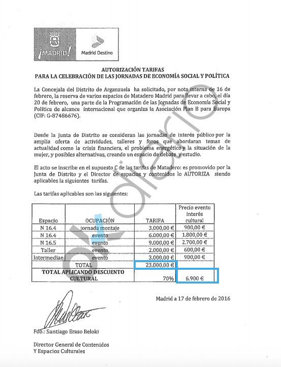 Captura del contrato que revela la rebaja del 70% del precio que se debería haber pagado por un evento partidista.