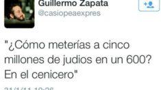 Reproducción de uno de los tuits de Guillermo Zapata.