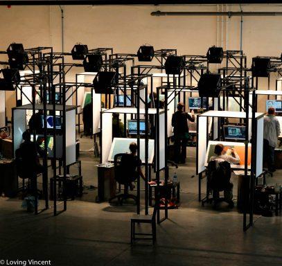 El espacio en el que trabajan los artistas que participan en el film. (Foto: Loving Vincent)