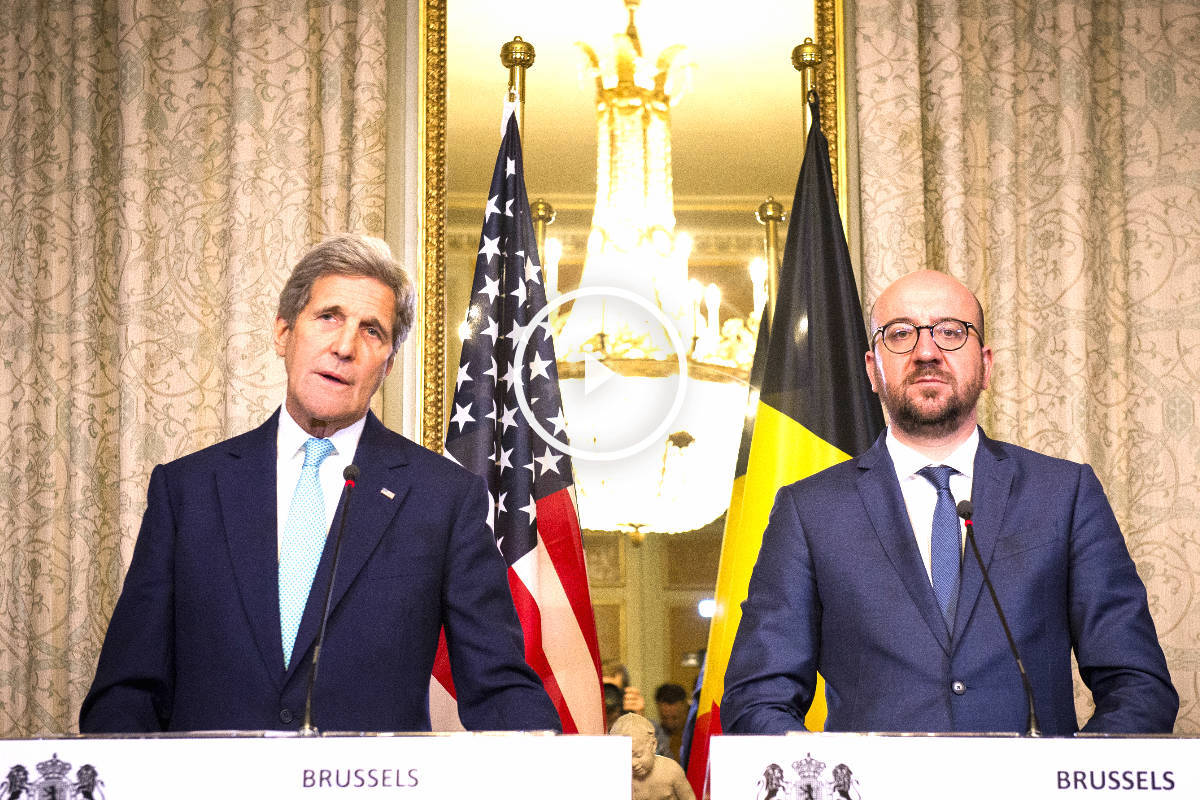 John Kerry y Charles Michel este viernes en Bruselas (Foto: AFP).