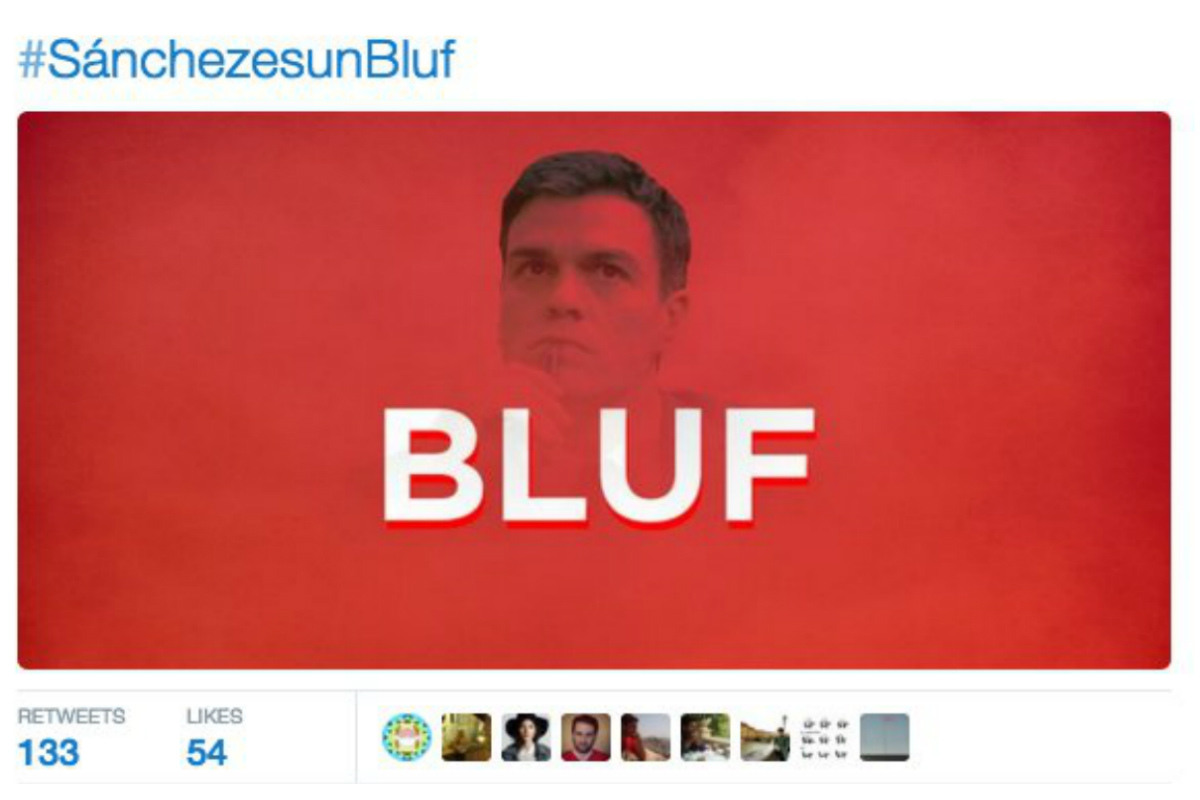 Captura del tuit publicado en la cuenta del Partido Popular usando el apelativo con el que Rajoy se ha referido a Sánchez