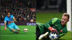 Bravo ha encajado menos goles que Ter Stegen habiendo jugado más partidos. (Getty y AFP)