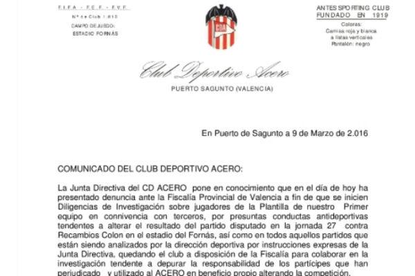 El CD Acero publicó un comunicado informando de la denuncia.