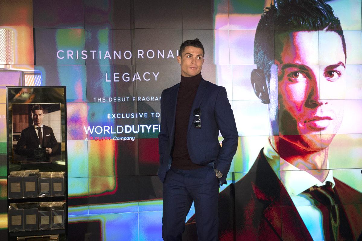 Cristiano Ronaldo durante la presentación de su nueva colonia. (EFE)
