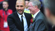 Ferguson y Guardiola durante la final de Champions de 2011 entre Barça y United. (Getty)