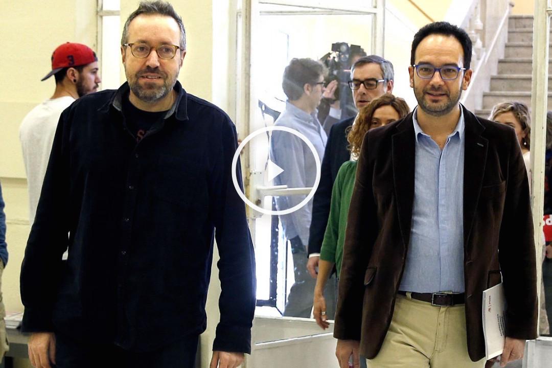 Girauta y Hernando tras la reunión este sábado de Ciudadanos y PSOE (Foto: Efe).