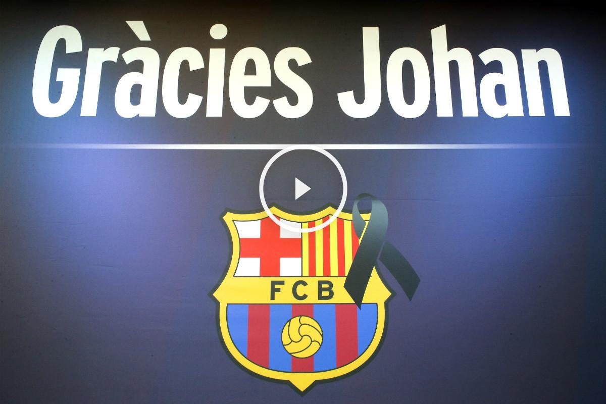 El Barcelona lucirá el lema 'Gràcies Johan' en el Clásico. (AFP)