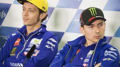 Jorge Lorenzo y Valentino Rossi, en una rueda de prensa. (Getty)