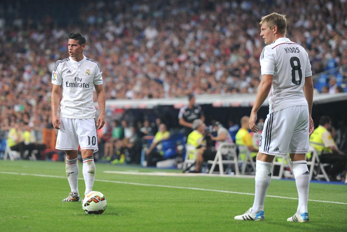 Kroos y James. en un partido en el Bernabéu. (Getty)