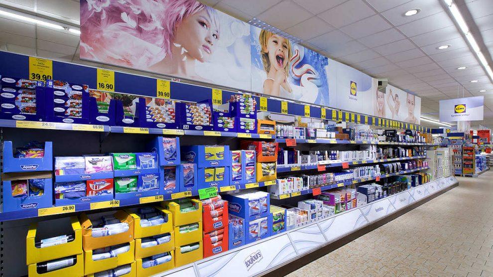 Un lineal de un supermercado Lidl.