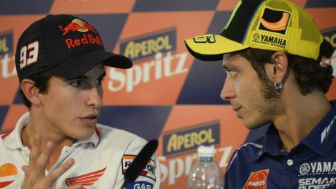 Márquez y Rossi, en una rueda de prensa. (Getty)