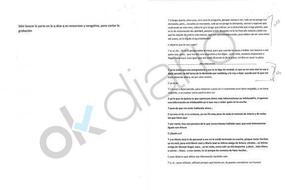 Las transcripciones con indicaciones manuscritas.