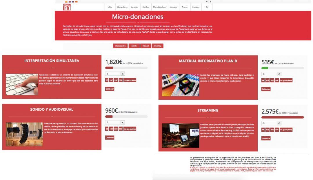 Captura de la web donde se aprecia no completaron sus objetivos de financiación. (Clic para ampliar)