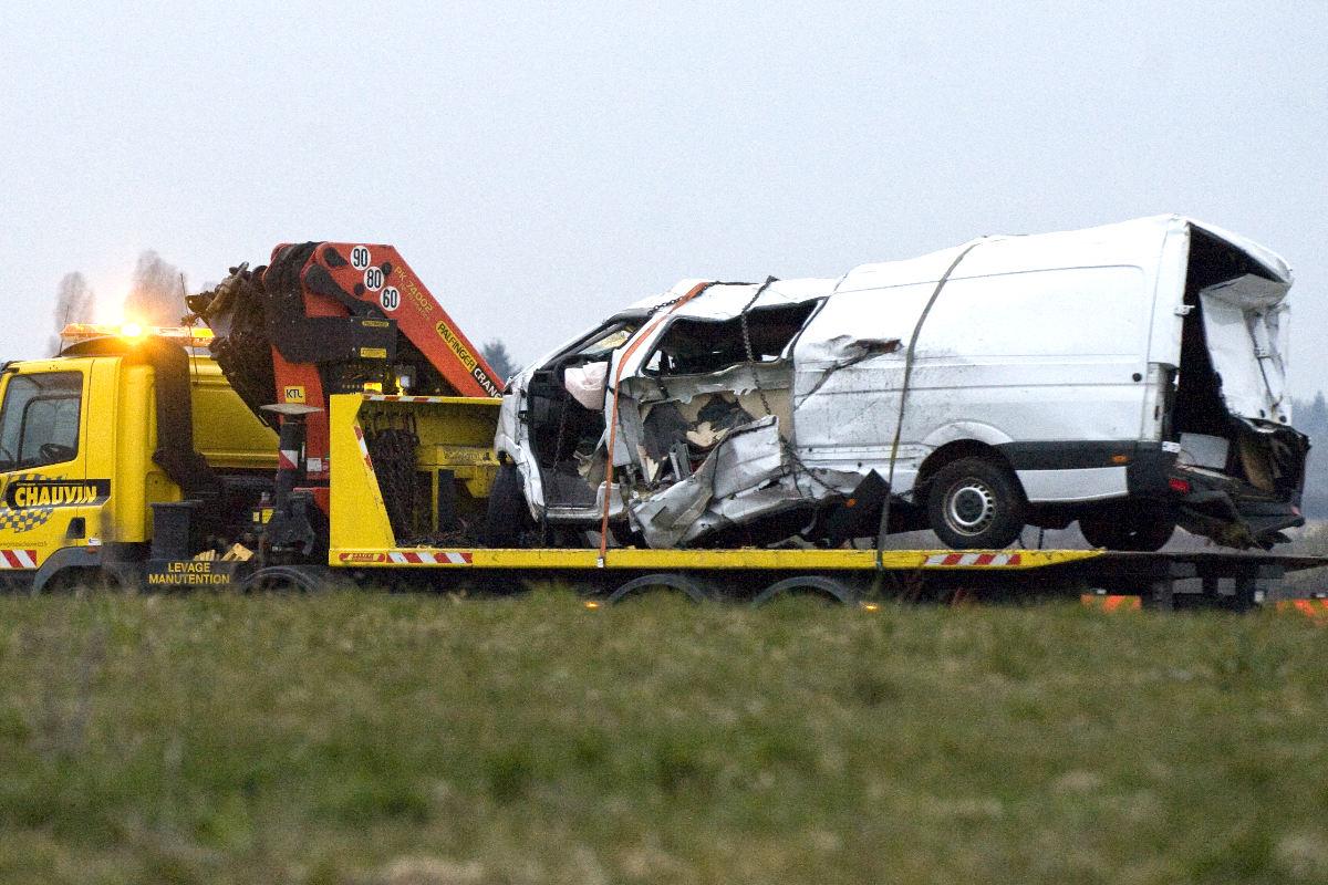 Imagen del autobús accidentado en Francia (Foto: AFP).