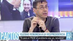Juan Carlos Monedero en Telecinco.