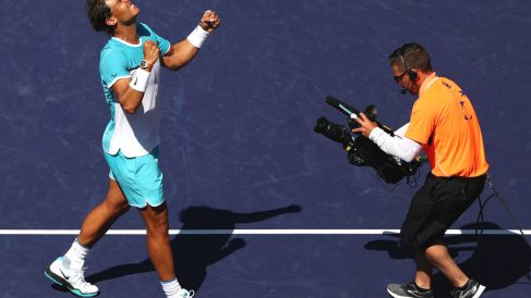 Rafa Nadal celebra la victoria ante Nishikori en Indian Wells. (Getty)