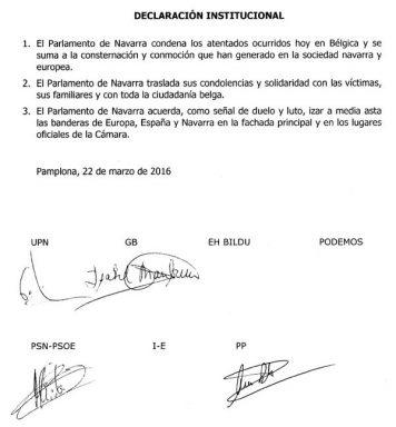 Podemos Navarra se niega a firmar la condena porque en el texto aparece la bandera de España