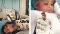 El pequeño, ingresado en el hospital tras el atentado.