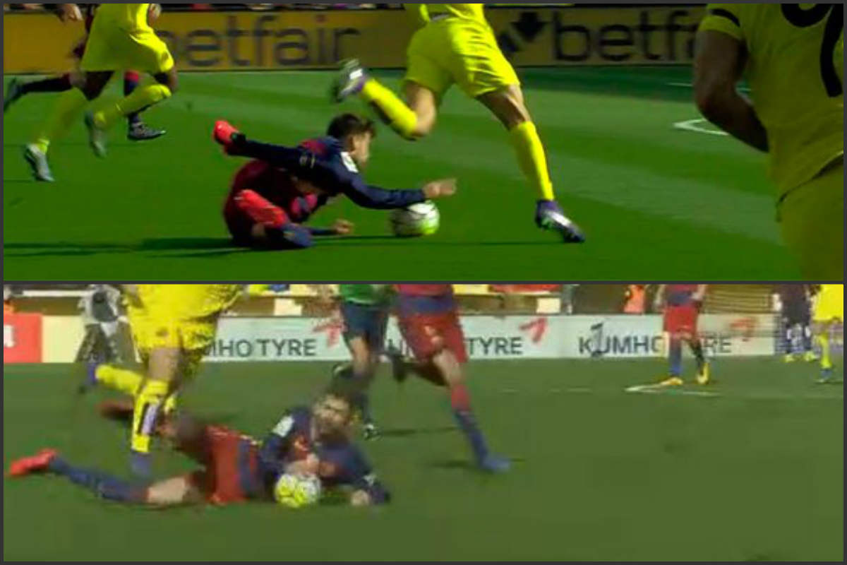 El árbitro perdonó la expulsión a Piqué.