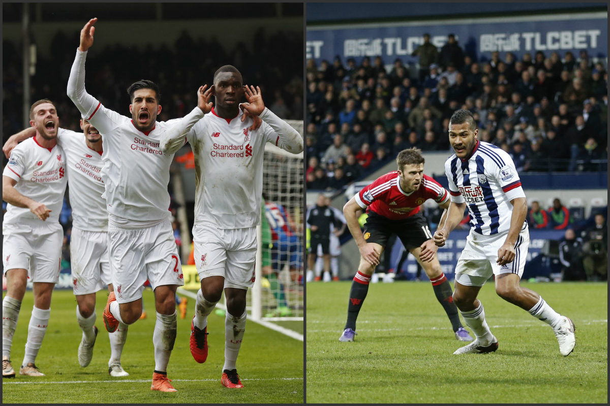 Benteke y Rondón celebran sus goles que dieron la victoria a Liverpool y West Brom. (Reuters)