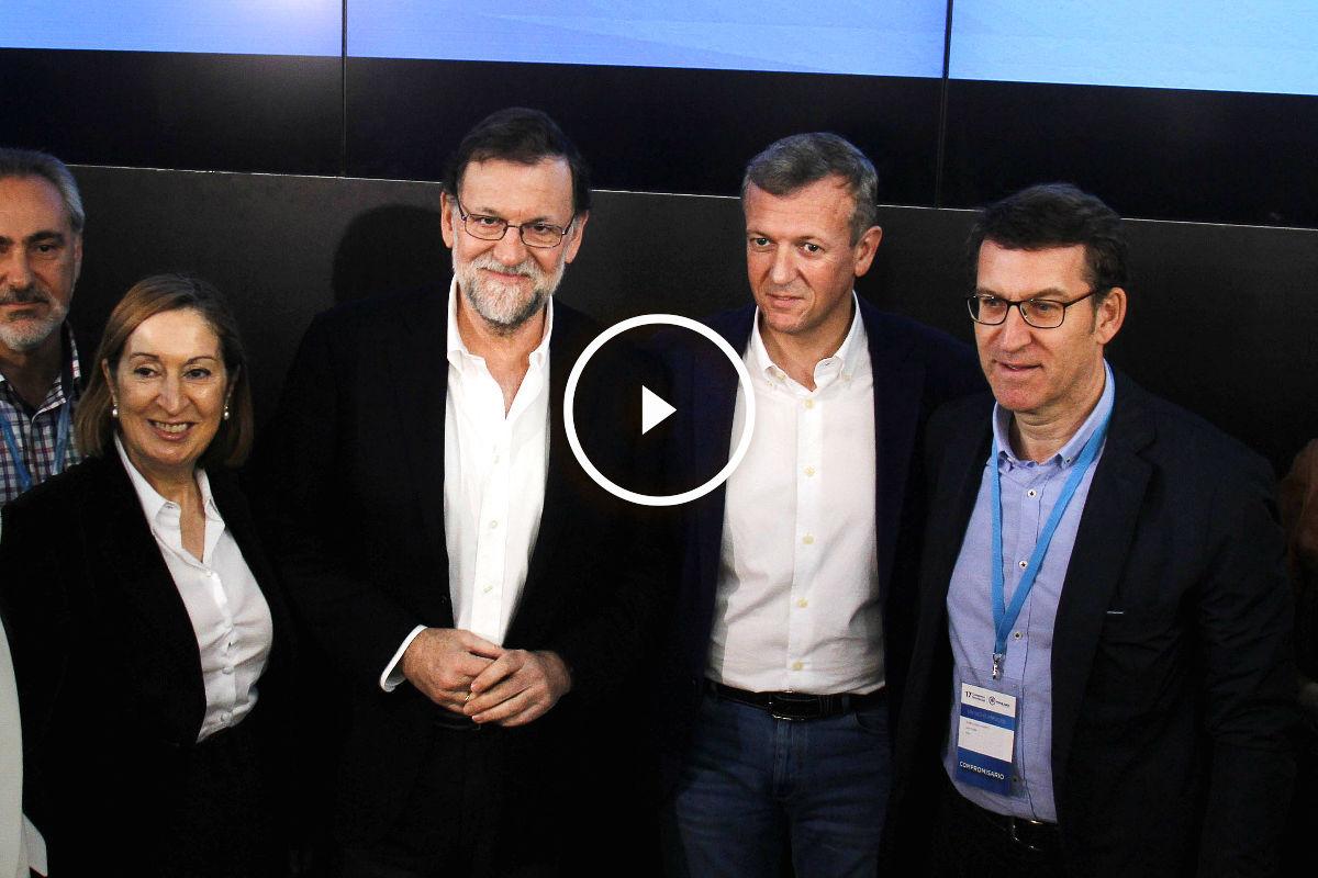Rajoy acompañado de Ana Pastor, Alfredo Rueda y Alberto Núñez Feijóo (Foto: Efe).