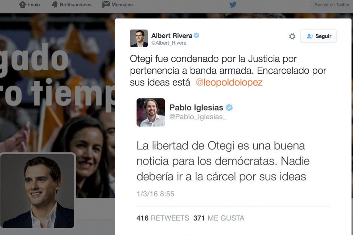Intercambio tuitero entre Rivera e Iglesias.