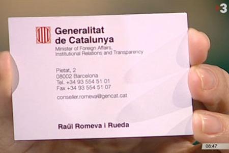 Este es el carnet que exhibe Romeva como 'ministro de Exteriores' catalán (TV3)