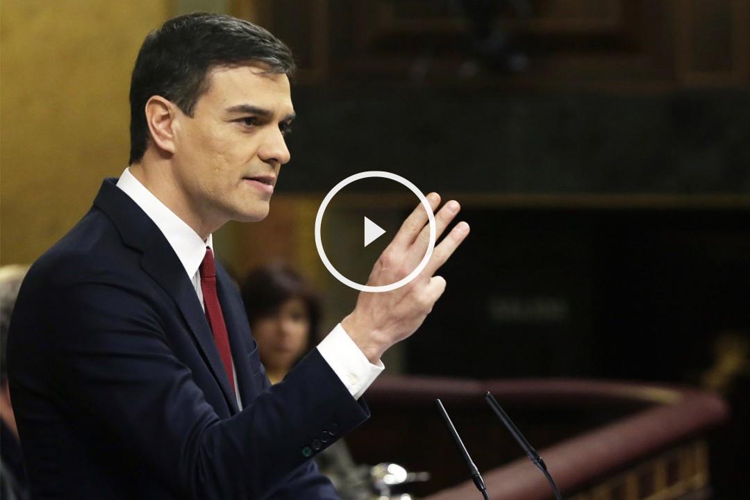 Pedro Sánchez durante su discurso de investidura. (Foto: EFE)