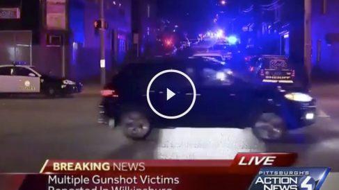 Zona del tiroteo en una televisión de Pittsburgh.