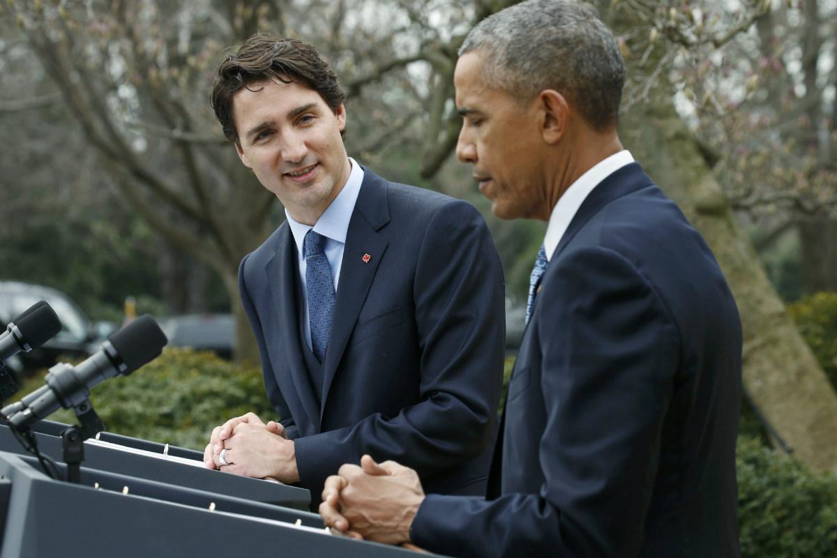 Justin Trudeau, primer ministro de Canadá, y Barack Obama, presidente de EEUU. (Reuters)