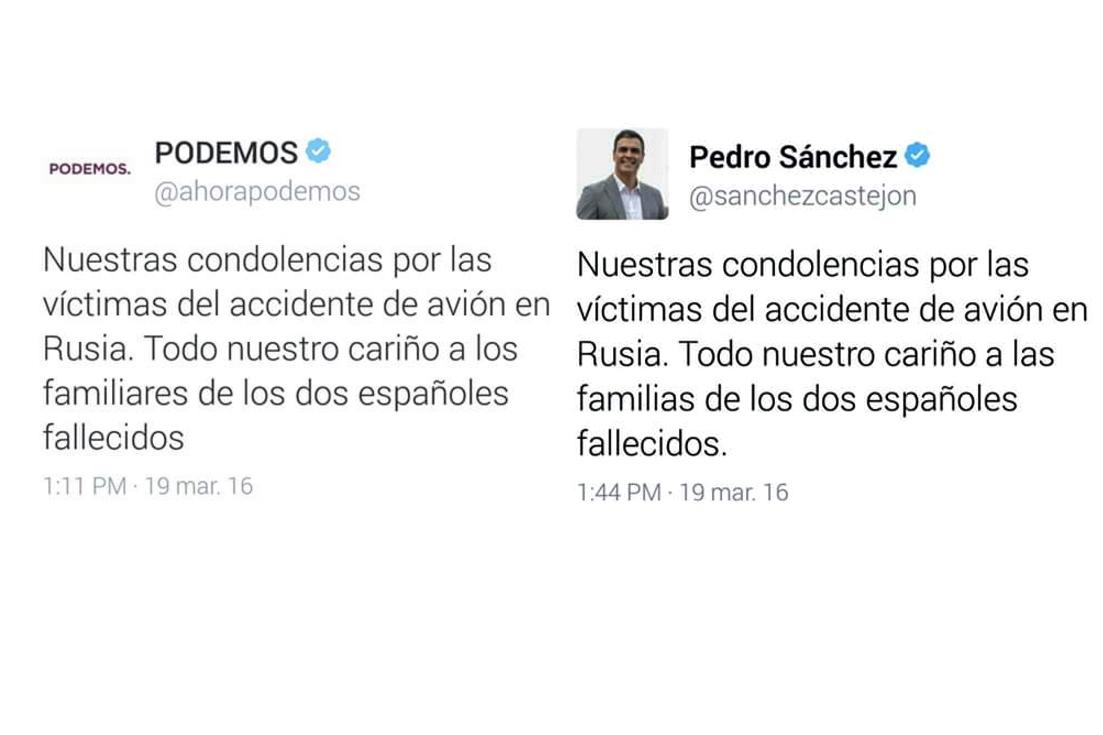 Éstos son los tuits publicados por Podemos, a las 13.11 h, y por Pedro Sánchez, a las 13.44 h.