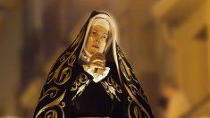 Imagen de la Virgen Dolorsa insultada ayer en Pamplona.