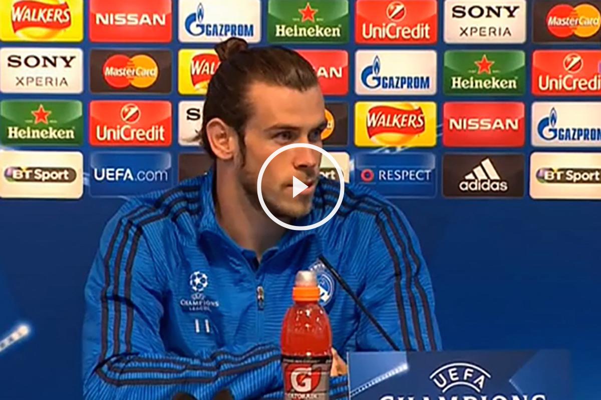 Bale, en la rueda de prensa en Manchester.