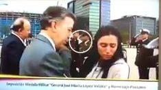 Momento en que la viuda de un militar asesinado por la guerrilla le aparta el rostro al presidente Santos. (OKD)
