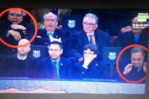 Así fue el contraste en las expresiones entre el presidente del Real Madrid y el ex mandatario barcelonista.