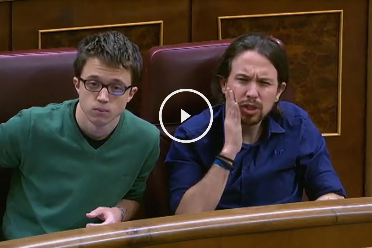 El líder de Podemos, Pablo Iglesias, llamando caradura a la socialista Isabel Rodríguez
