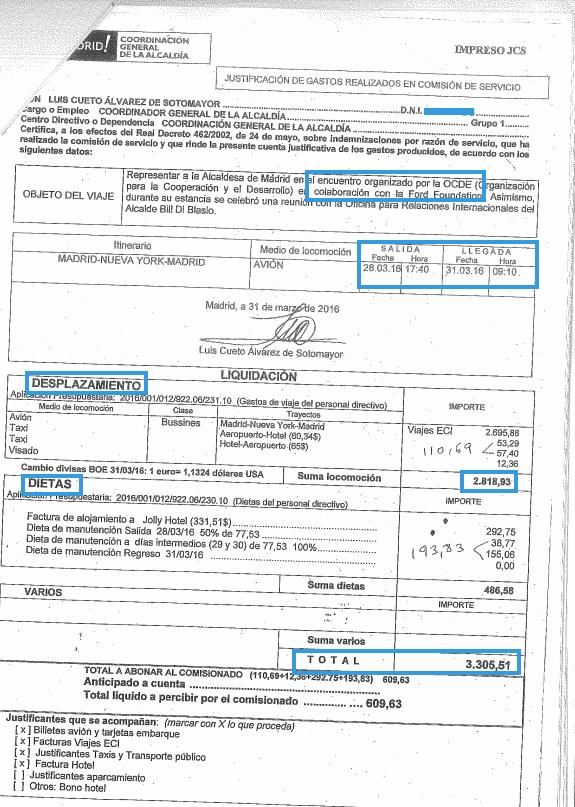 Justificación de gastos de la mano derecha de Carmena en NYC. (Clic para ampliar)