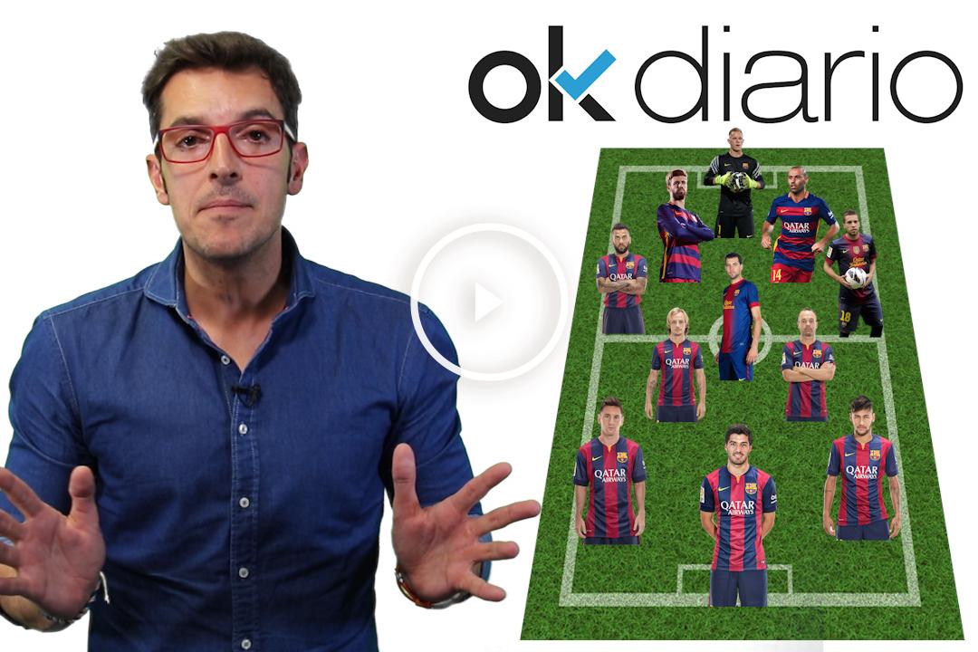 Alineación del Barcelona contra el Atlético.