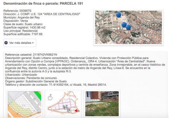 """Parcela """"Pendiente de concurso"""" en el Portal del Suelo de la Comunidad de Madrid"""