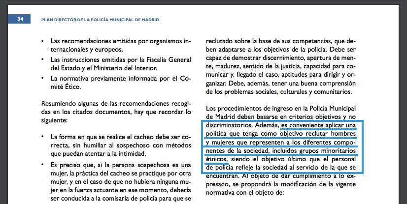 Plan Director de la Policía de Carmena en la que se abre la puerta a cuotas.
